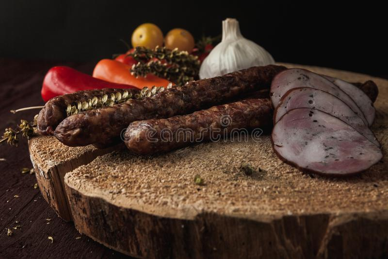 Traditional simple meal setup with meat and vegetables stock photo