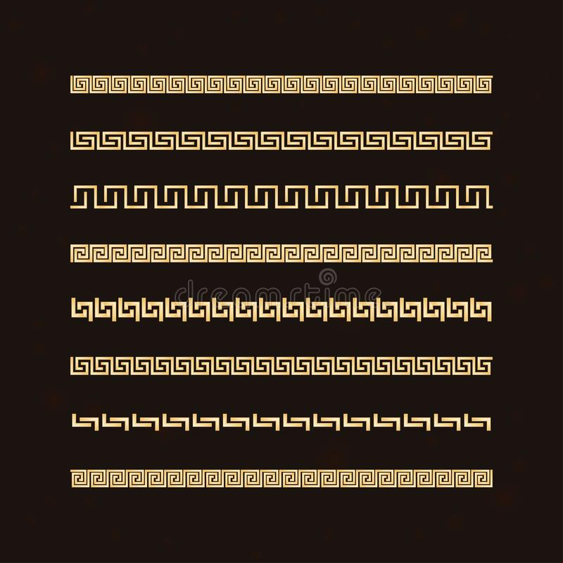 Traditional simple meander. Golden border on the dark background. Ancient Greek ornament. Vector vector illustration