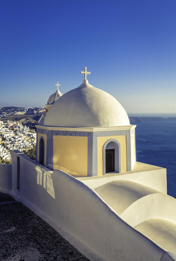 Traditional small church in Thira, Santorini Island. Greece stock images