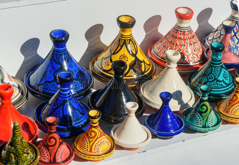 Small Tajine crafts souvenirs on market Essaouira. Traditional small Tajine crafts souvenirs on market in medina. Essaouira, Morocco royalty free stock images