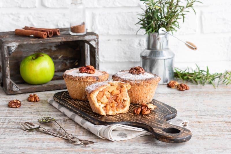 Traditional american shortbread apple mini-pie stock photography