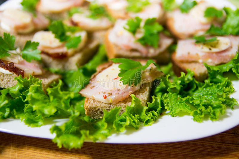 Traditional snack for Russian and Ukrainian people on the holidays. A sandwich with bacon, garlic and parsley under the glass of g. Enuine Russian vodka enuine stock photography