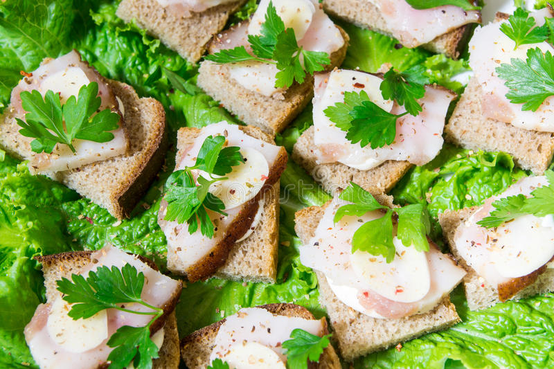 Traditional snack for Russian and Ukrainian people on the holidays. A sandwich with bacon, garlic and parsley under the glass of g. Enuine Russian vodka enuine royalty free stock photos