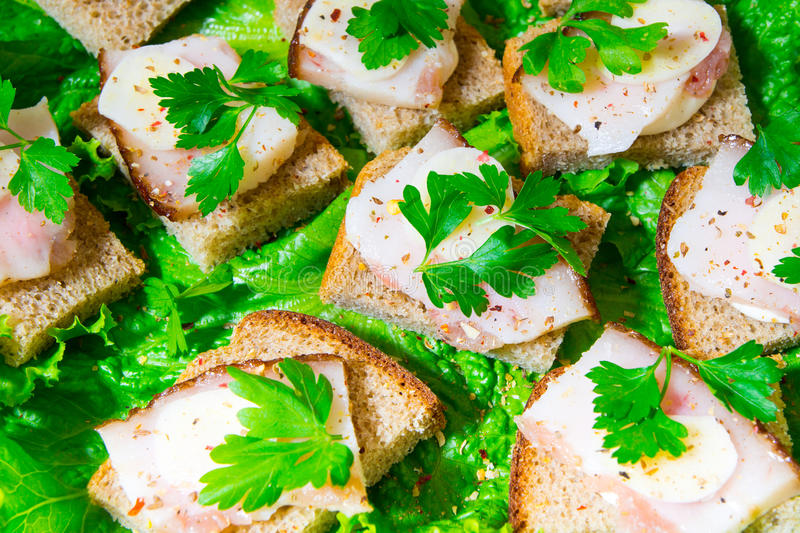 Traditional snack for Russian and Ukrainian people on the holidays. A sandwich with bacon, garlic and parsley under the glass of g. Enuine Russian vodka enuine royalty free stock image