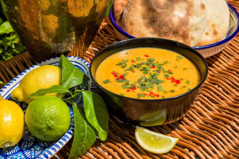 Traditional soup of red lentils stock image