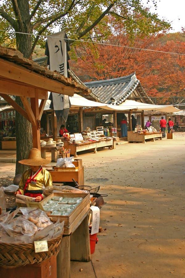 Traditional South Korean market stock image