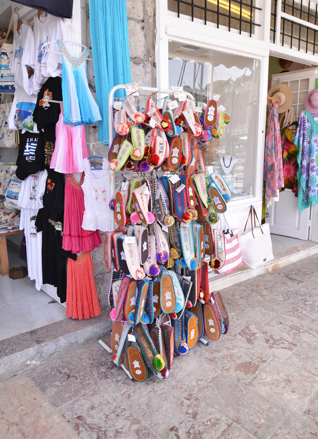 Traditional souvenir shops at Hydra island Saronic Gulf Greece royalty free stock photography