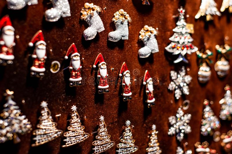 Traditional Souvenirs and toys like Santa Claus Dolls At European Winter Christmas Market Souvenir royalty free stock photography