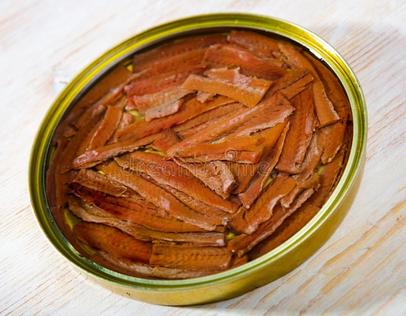 Traditional spanish canned food salted anchovy fillets in oil, nobody. Image of traditional spanish canned food salted anchovy fillets in oil, nobody royalty free stock photo