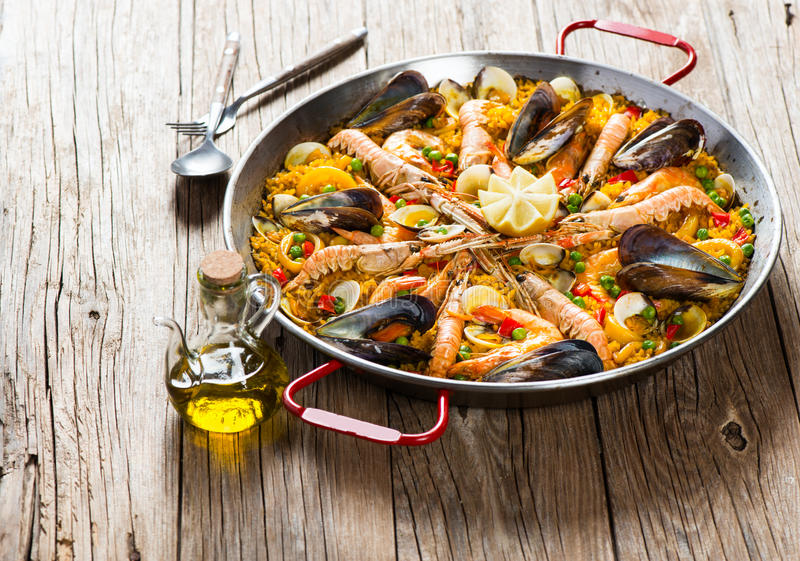 Traditional spanish food paella stock photos
