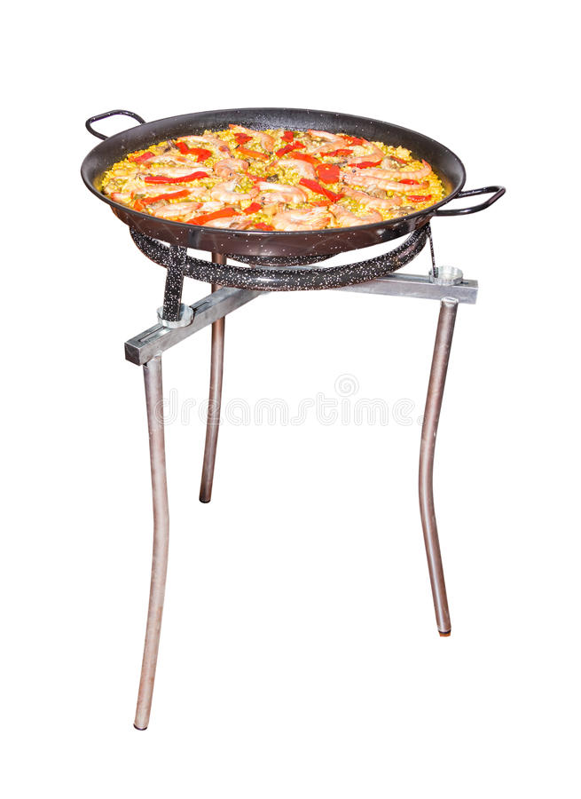 Traditional spanish paella in a pan royalty free stock photo