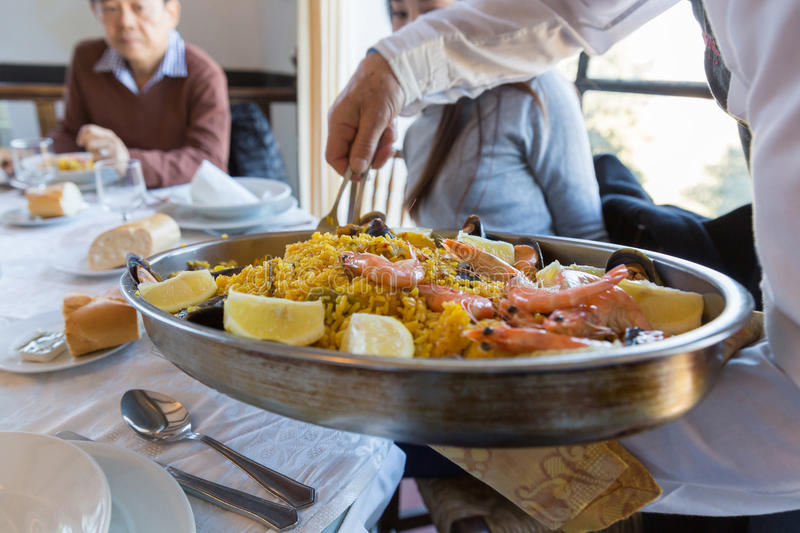 Traditional spanish seafood of Paella stock photo