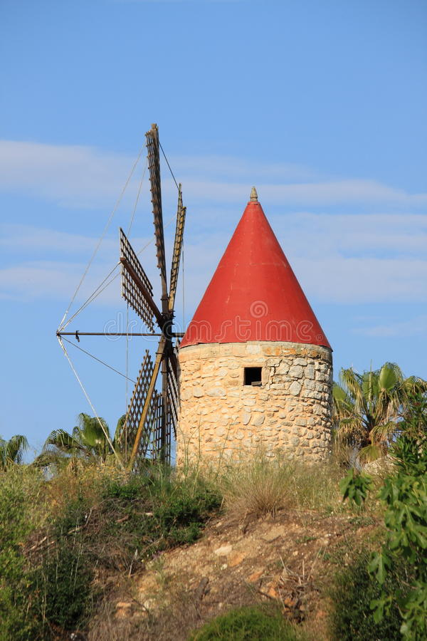 Traditional spanish windmill royalty free stock image