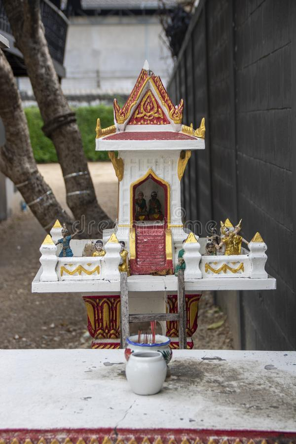 Spirit house. Traditional spirit house outside a house in Kanchanaburi, Thailand royalty free stock photography