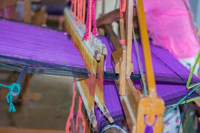 Traditional Sri Lankan handloom and batik product manufacturing workshop. A Wide Range Of handloom Items Made Of thread Utility And Beauty Adding Elegance To stock photo