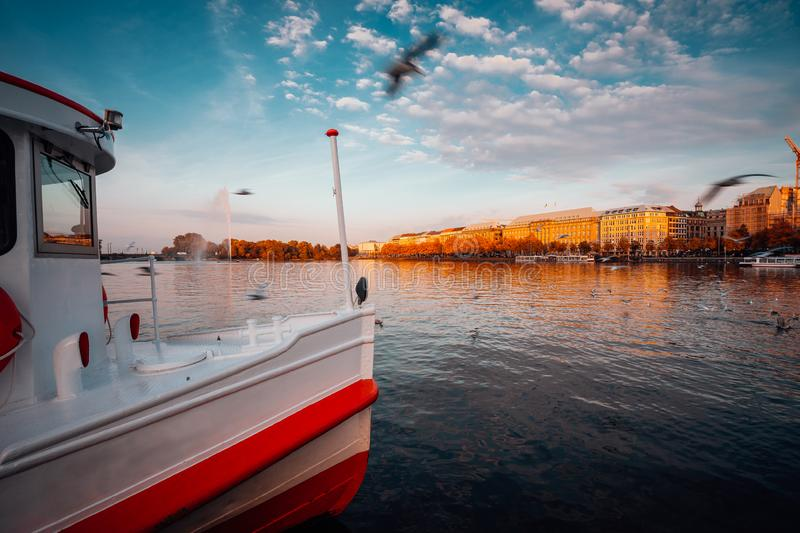 Traditional steamer boat on Alster Lake in foreground. Golden autumn light at sunset. Seagulls circling over water stock photo