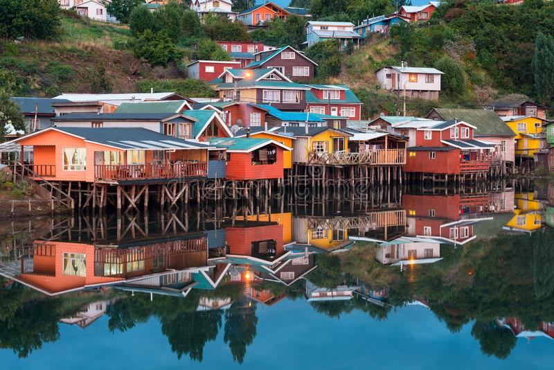 Traditional stilt houses know as palafitos in the city of Castro at Chiloe Island royalty free stock images