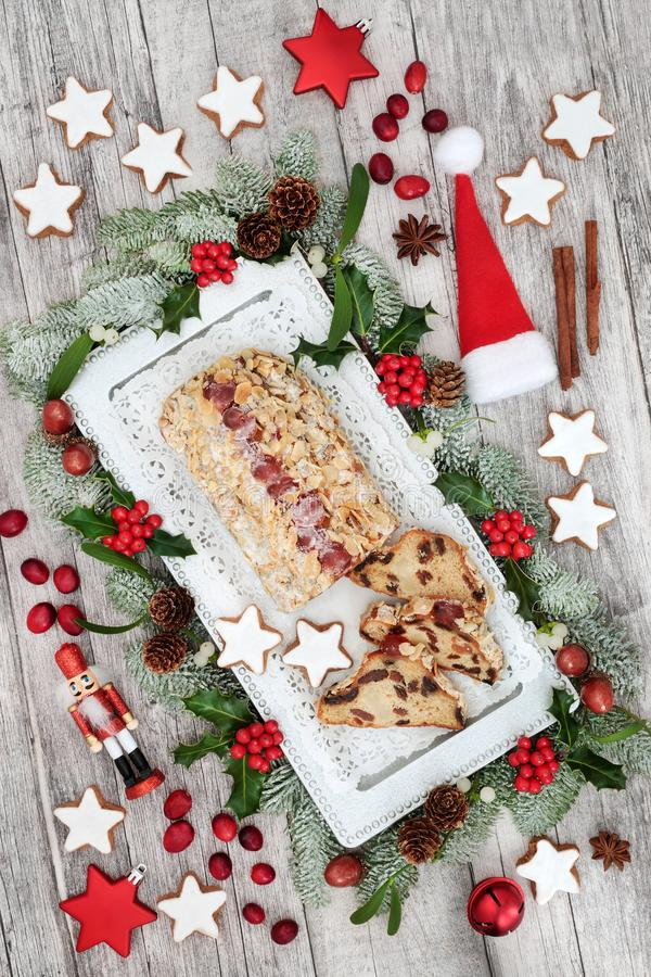 Traditional Stollen Christmas Cake stock photography