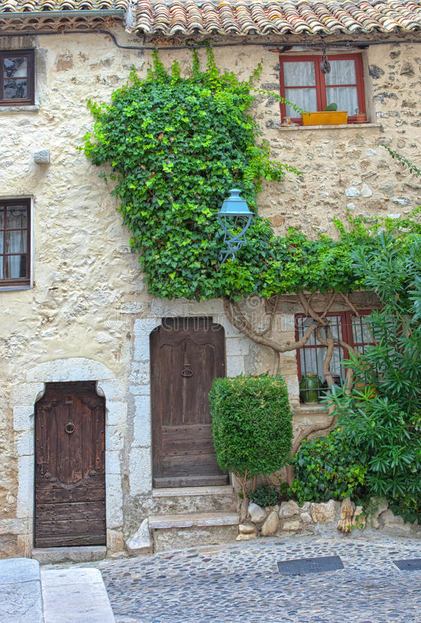Traditional stone French home in historic old town stock photo