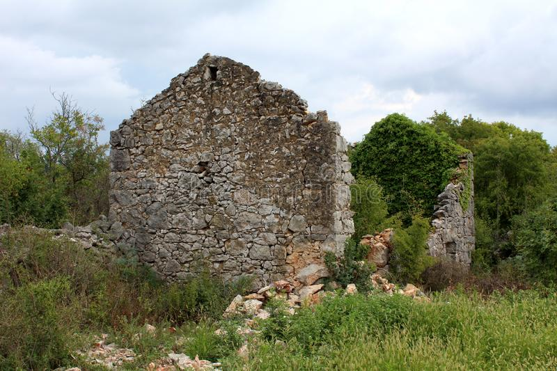 Traditional stone house ruins with missing roof partially overgrown with crawler plant surrounded with dense vegetation royalty free stock images