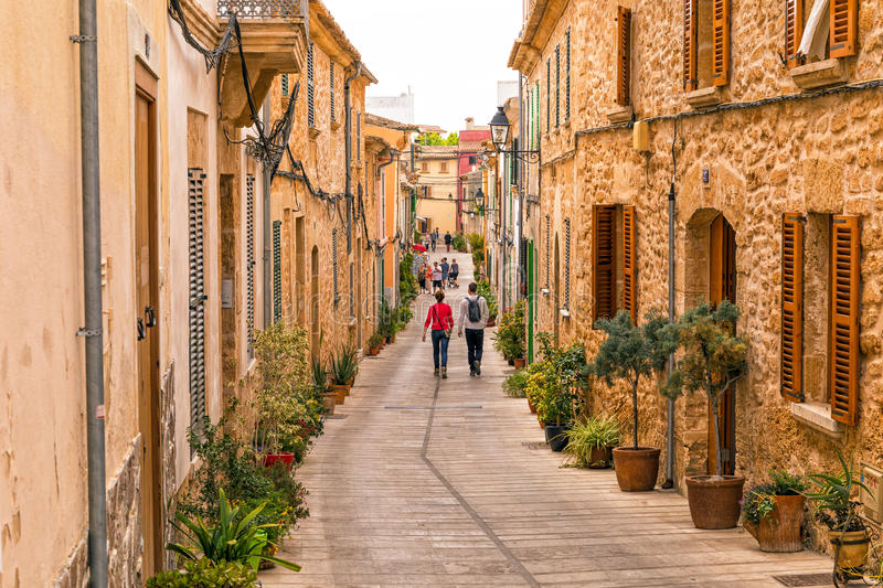 Traditional Street In Alcudia Old Town Mallorca Editorial Stock