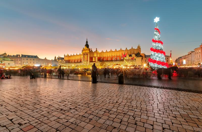 Traditional street market in Main Market Square in Krakow royalty free stock photos
