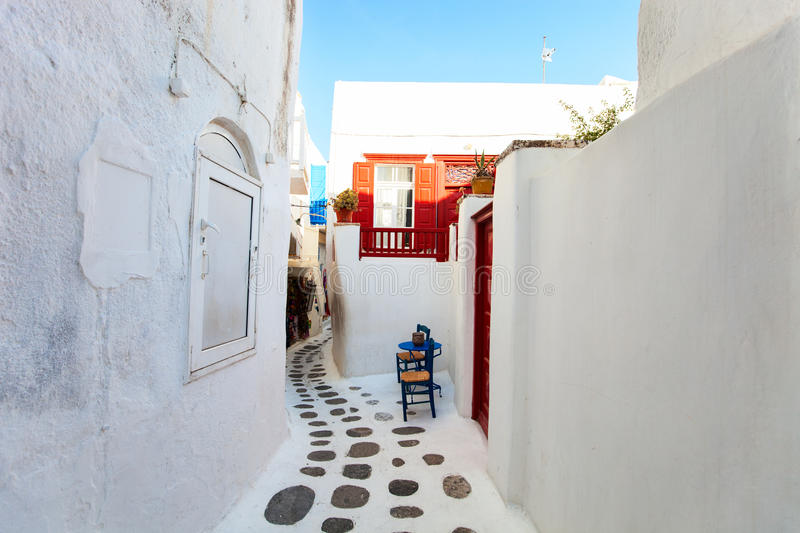 Traditional street of Mykonos island in Greece royalty free stock image