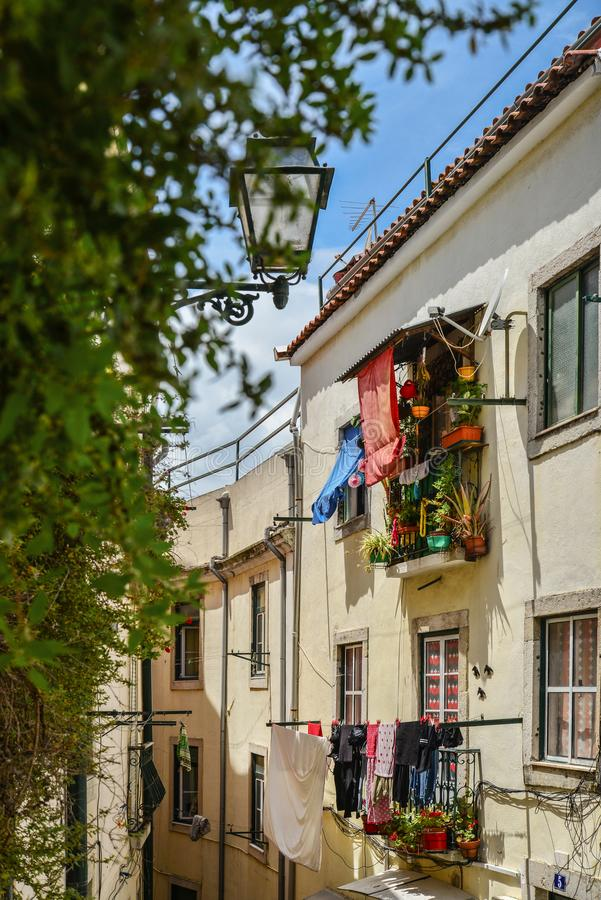 Traditional street with staircase in Alfama royalty free stock photos