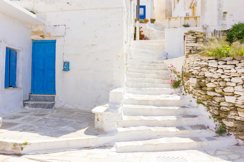 Traditional street in Tinos Island,Greece royalty free stock images