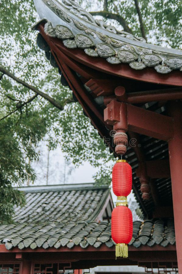 Traditional style architecture of Chinese garden decorated with red lantern for Lunar New Year. Traditional Chinese garden decorated with red lantern for Lunar royalty free stock image