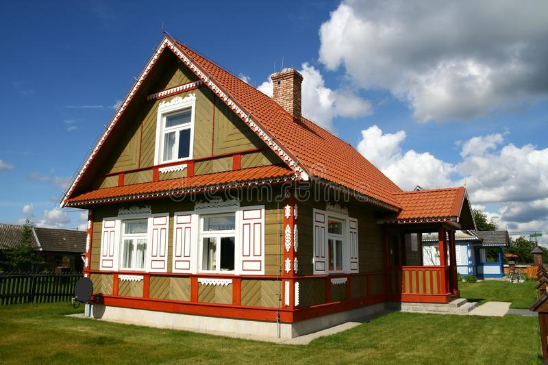 Traditional style village house. In Poland royalty free stock photo