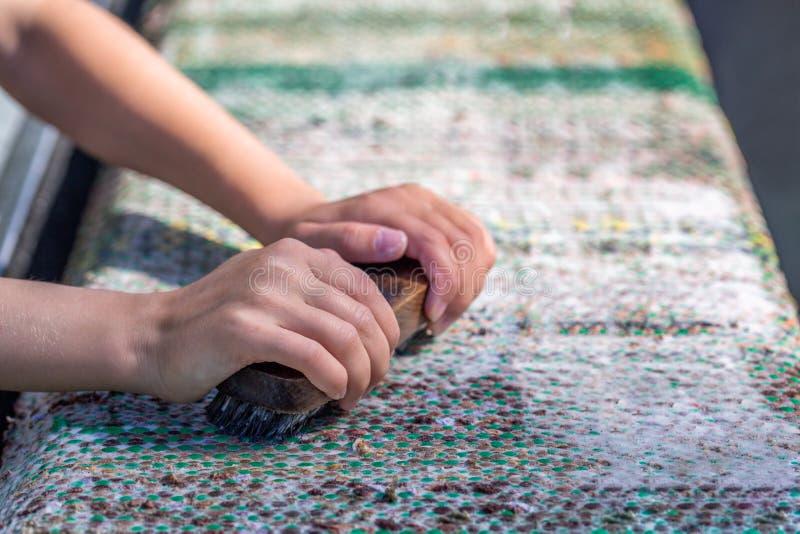 Traditional summer rug washing stock photography