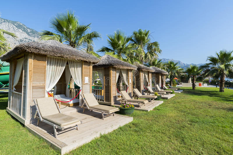 Traditional summerhouse on tropical resort. A Traditional summerhouse on the tropical resort stock photo
