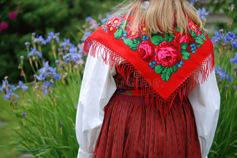 Traditional Swedish costume at Midsummer. Eve stock images