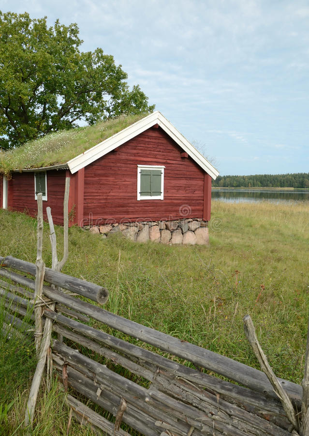 Traditional Swedish Cottage - Vertical View Stock Images
