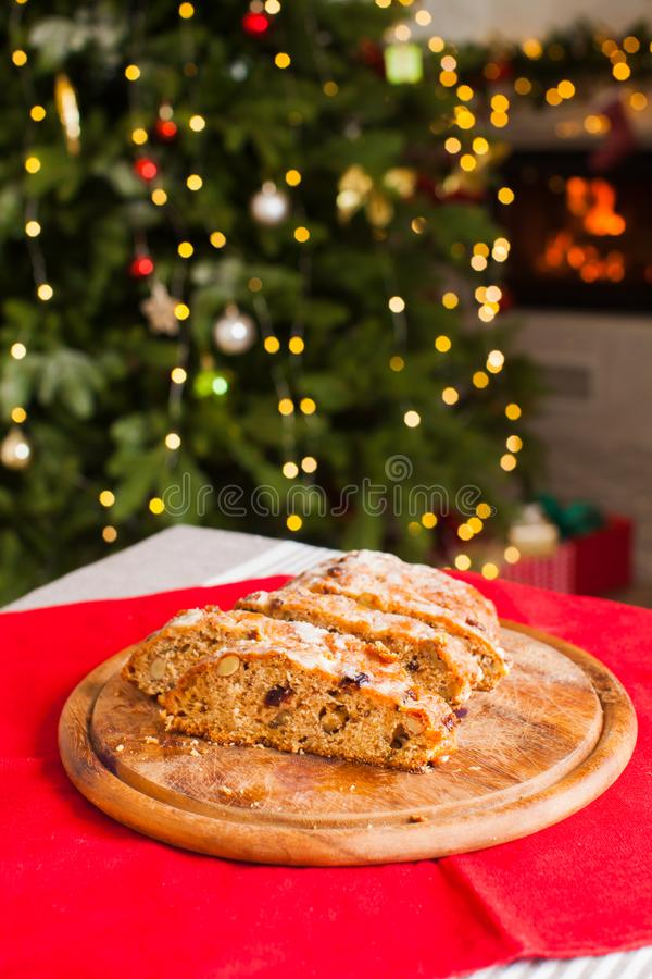 Traditional Sweet Fruit Loaf with Icing Sugar on Christmas stock photos