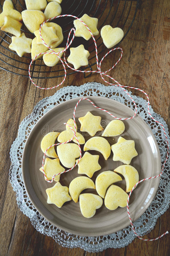 Traditional swiss cookies for christmas time Mailanderli on plate royalty free stock photography
