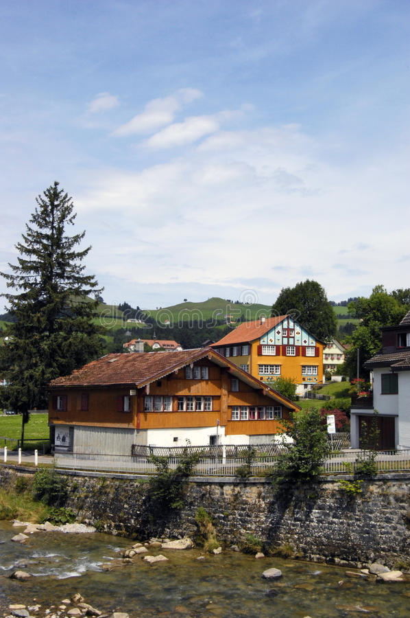 Traditional Swiss houses royalty free stock photography