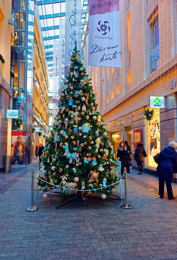 Traditional symbol of Christmas - beautifully decorated Christma. RIGA, LATVIA - DECEMBER 28, 2014: Traditional symbol of Christmas - beautifully decorated stock photography