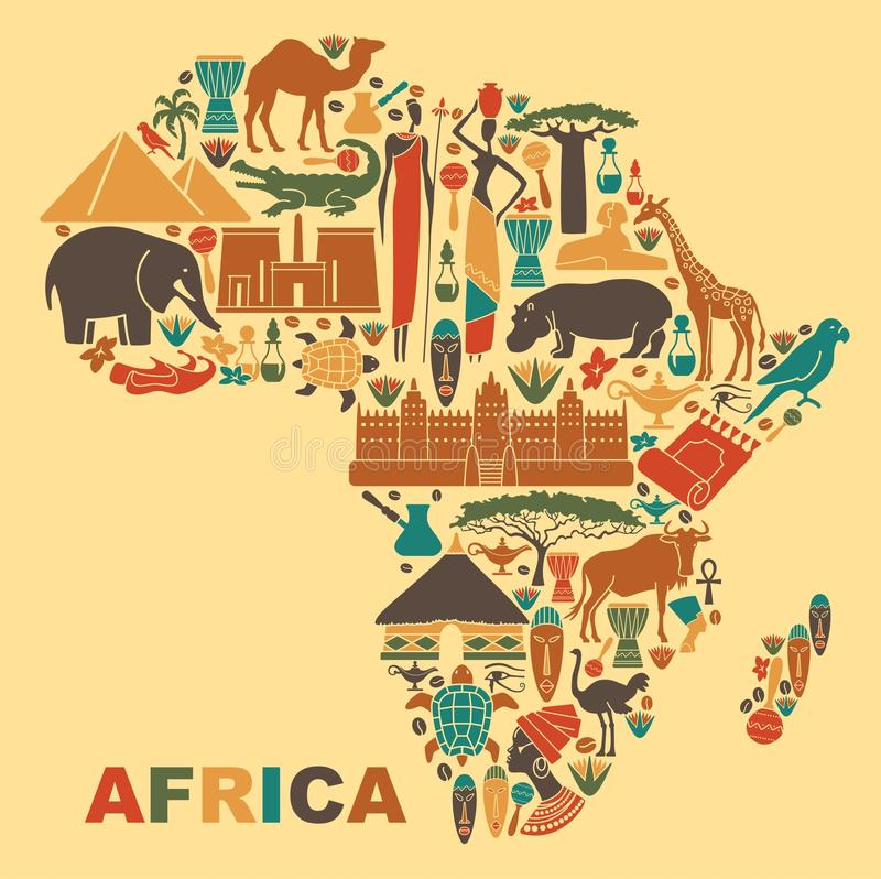 Traditional symbols of Africa in the form of a map vector illustration