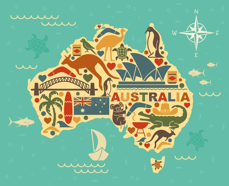 Stylized Map Of Australia With The Symbols Of Australian Culture And