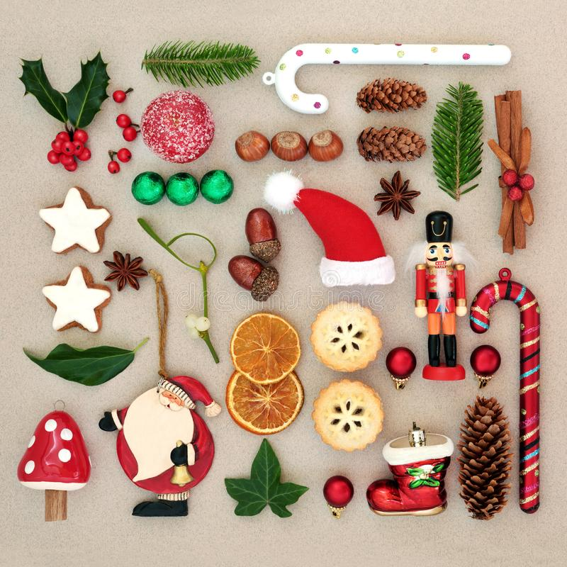 Traditional Symbols of Christmas Selection royalty free stock photography