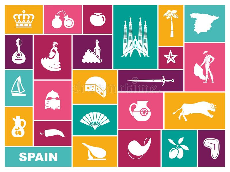 Traditional symbols of Spain. Flat vector icons royalty free illustration