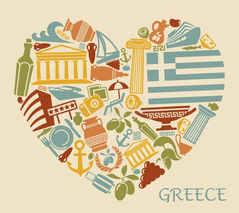 Symbols of Greece in the form of heart stock illustration