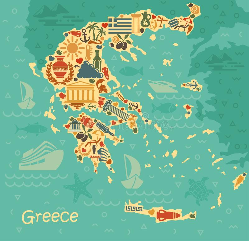 Symbols of Greece in the form of map stock illustration