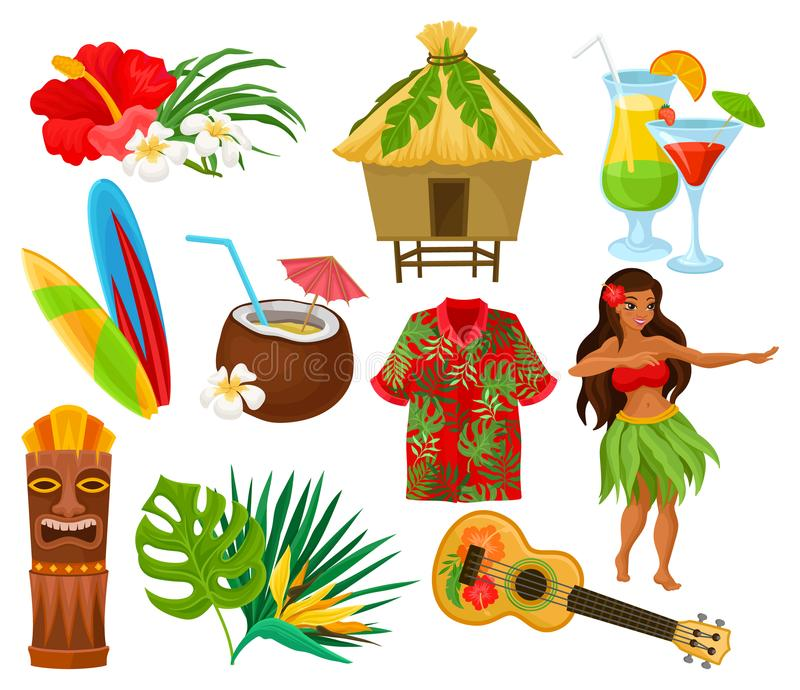Traditional symbols of Hawaiian culture set, hibiscus flower, bungalow, surfboard, tiki tribal mask, ukulele, exotic. Cocktails vector Illustrations isolated on vector illustration