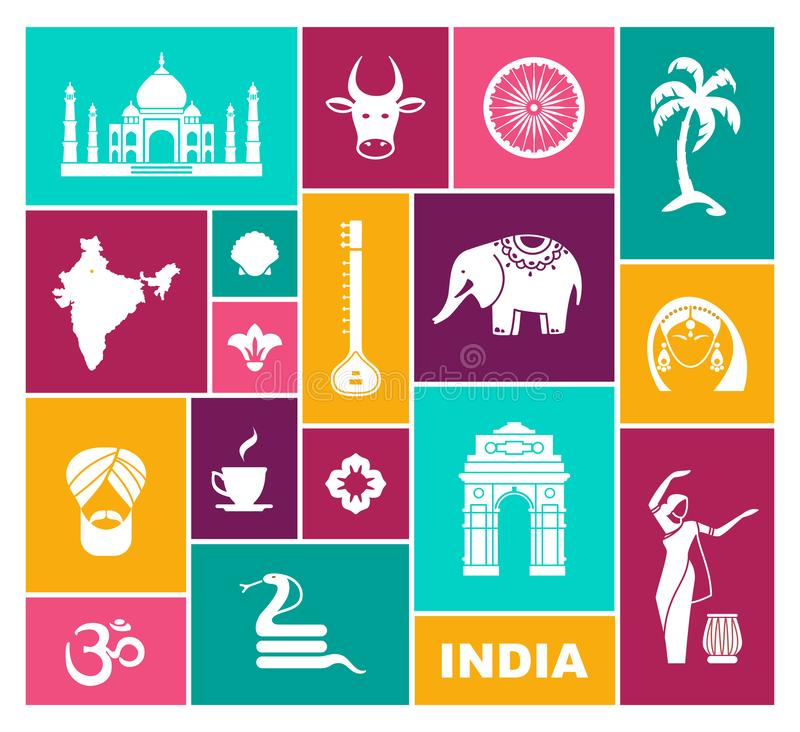 Icons of India. Flat vector icon with traditional symbols. Traditional symbols of India. Flat vector icon stock illustration