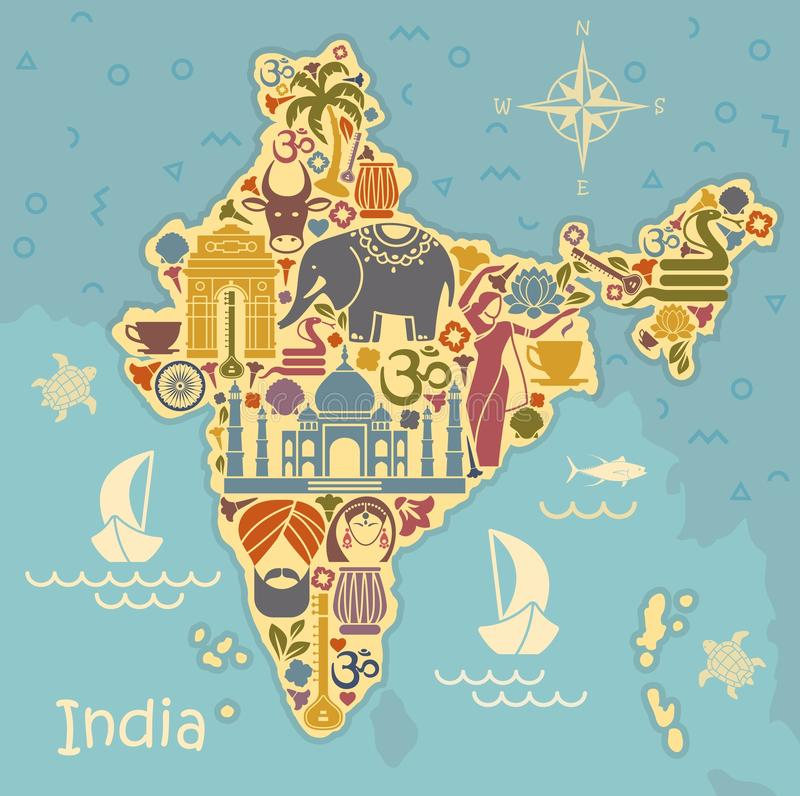 Traditional symbols of India in the form of a stilized map. Map of India with icons. Traditional symbols of culture and architecture of India stock illustration