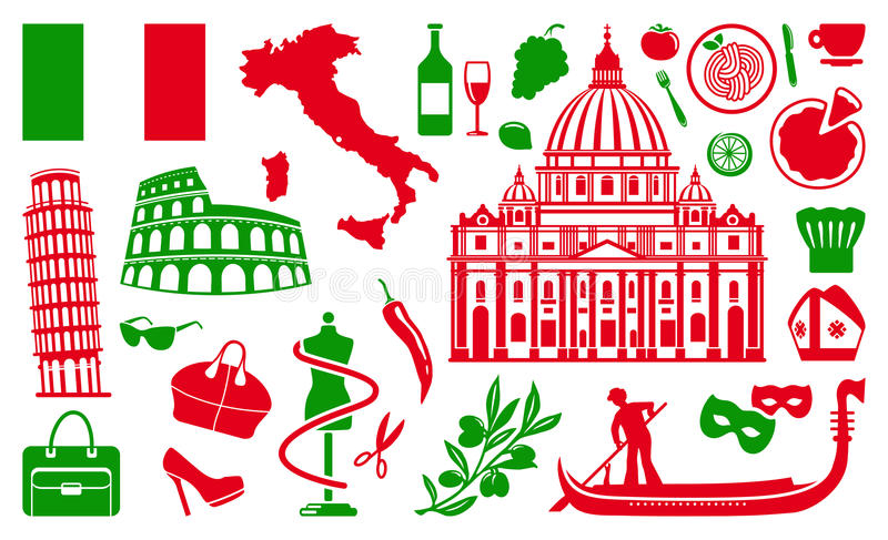 Traditional symbols of Italy vector illustration