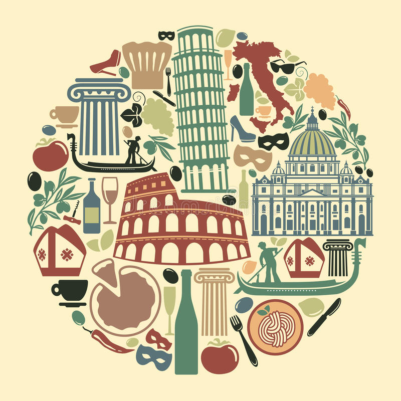 Traditional Symbols Of Italy Stock Vector Illustration Of Festival